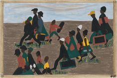 """APR 3-Sept 7, 2015. One-Way Ticket: Jacob Lawrence's Migration Series and Other Works at MoMA. """"The Migration Series"""" (1940-41), Panel 40: """"The migrants arrived in great numbers."""" Casein tempera on hardboard, 18 x 12 in. via MoMA"""