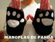 Cómo hacer manoplas de oso panda para el disfraz / How to make panda bear paws costume