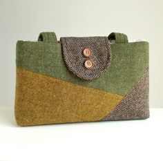 Harris Tweed Purse - Colorblock Collection - One of a Kind Bag. Made from exclusive Harris Tweed wool which was imported from a lovely shop located on the Isle of Harris, Scotland. Harris Tweed is a luxury cloth handwoven by the islanders in their homes on the Isles of Harris, Lewis, Uist and Barra in the Outer Hebrides of Scotland, using local wool. The Harris Tweed label is sewn onto the back of the bag. This one-of-a-kind purse is made with Harris Tweed wool in a mustard weave, olive…