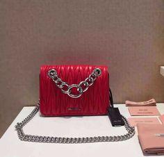 MiuMiu 5BD016 Small Lambskin Chain Shoulder Bag Red Black 2016 63c4495a2fab5