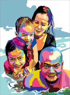 Berempat di kolam renang by on deviantART Pop Art Portraits, Creative Portraits, Portrait Art, Poster Color Painting, Portrait Acrylic, Cubism Art, Polygon Art, Watercolor Paintings, Oil Paintings