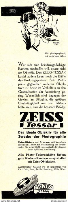 Original-Werbung/ Anzeige 1930 - ZEISS TESSAR / CARL ZEISS JENA - Ca. 65 X 200 Mm - Werbung