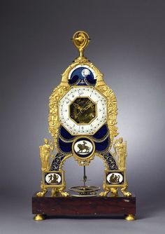A late Louis XVI  skeleton mantle clock by Joseph Coteau 1785