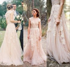 Vintage Wedding Dresses Cap Sleeve Lace 2015 Champagne Ruffles Beach Wedding Gowns Deep V Neck Plus Size Reem Acra Bridal Gowns EM01767 from Prommuse,$129.06 | DHgate.com