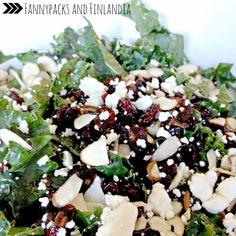 Cranberry Almond Kale Salad with Warm Shallot and Lemon Vinaigrette