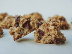 Chocolate Chip + Banana + Oatmeal Bites...Soft, moist & chewy. With only 4 ingredients these little bites will become a quick go to recipe.