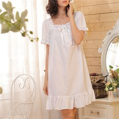 2015 Brand Sleep Lounge Women Sleepwear Cotton Nightgowns Sexy Indoor Clothing Home Dress White Nightdress Plus Size #P3