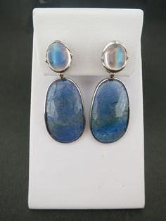 New moonstone stud with tanzanite jackets. What a pair!