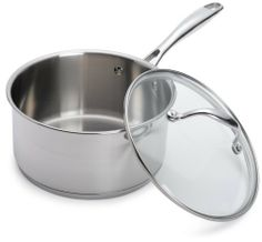 Oneida Stainless Steel 3 Quart Covered Saucepan by Oneida. $49.99. Oneida Stainless Steel Pro Series 3 quart Sauce Pan with glass lid. Glass lid. Lifetime guarantee. Riveted, cast stainless steel handles for added strength. Encapsulated base for even heating. Professional weight stainless steel construction