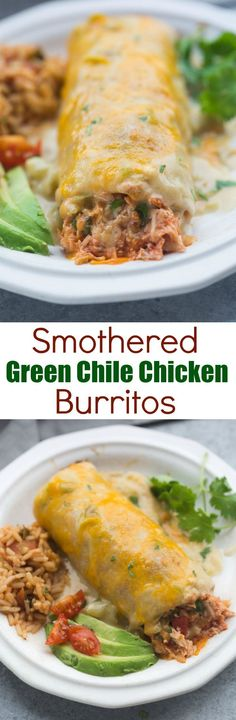 These Smothered Green Chile Chicken Burritos are AMAZING, and super easy to prepare. They're baked until crispy and smothered in the best, homemade green chile sauce. Tastes Better From Scratch Mexican Dishes, Mexican Food Recipes, New Recipes, Dinner Recipes, Cooking Recipes, Favorite Recipes, Healthy Recipes, Cooking Tips, Snacks