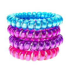 Blue, Pink and Purple Jelly Telephone Cord Hair Ties Coil Hair Ties, Elastic Hair Bands, Hair Tie Bracelet, Hair Bobbles, Spring Hairstyles, Cute Bracelets, Girls Hair Accessories, Jewelry Accessories, Hair Jewelry