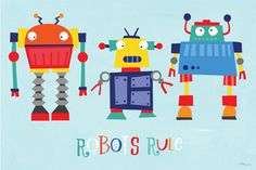 Oopsy Daisy - Canvas Wall Art Robots Rule By Vicky Barone, Size: 30 x Blue Robots For Kids, Art For Kids, Robot Classroom, Robot Illustration, Illustration Styles, Graphic Illustration, Robot Theme, Robot Monster, Baby Nursery Decor