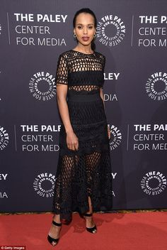 Starting a scandal! Kerry Washington wore a black net dress toA Tribute To African Americ...