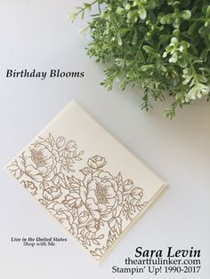 Sara Levin | theartfulinker.com Click the picture to see more of Sara's Designs. Birthday Blooms Wedding Card for Kylie Bertucci's Top Ten International Blog Highlights Blog Hop. Handmade cards, rubberstamps, cardmaking, stampinup, stamping, saralevin, theartfulinker