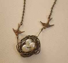Love Bird's Nest Necklace Wire Wrapped Pearl Nest with Birds  Jewelry Antique brass birds and nest with pearls