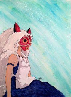 Princesse Mononoke San avec masque Fanart par SarahMarieArt sur Etsy, $40.00