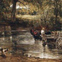 The Hay Wain (1821) (detail)  By John Constable. One of the most  famous landscape paintings.