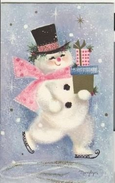 Vintage Hallmark Christmas Greeting Card Pink Blue Skating Santa by Marylyn Vintage Pink Christmas, Old Christmas, Hallmark Christmas, Vintage Holiday, Christmas Pictures, Vintage Greeting Cards, Christmas Greeting Cards, Christmas Greetings, Christmas Graphics