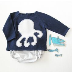 Knitted sweater with diaper cover  navy blue and by tenderblue, $75.00