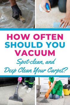 If you're new to owning a carpet, you might wonder how often to clean carpet? Find out here when to vacuum, spot-clean, and deep clean your carpet -- straight from the experts! #carpetcleaning #carpetcleaningtips #carpet #carpetcleaninghacks #cleaningtips #cleaninghacks #howtoclean Cleaning Checklist, Cleaning Hacks, Declutter Bedroom, Clean Your Car, Best Cleaning Products, Natural Lifestyle, Spot Cleaner, Diy Carpet, Feeling Overwhelmed