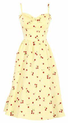Stop Staring! Juliet Swing Dress w/ Yellow & White Gingham & Cherry Print