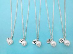 This listing is for set of 5, perfect for bridesmaid Different quantity available, please leave me a message I can make a customized list for you    Set of 5  Dainty sweet pearl leaves necklaces Simpl