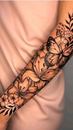 Half Sleeve Tattoos Forearm, Forarm Tattoos, Tattoos For Women Half Sleeve, Shoulder Tattoos For Women, Women Forearm Tattoo, Quarter Sleeve Tattoos, Thigh Tattoos, Girly Tattoos, Mom Tattoos