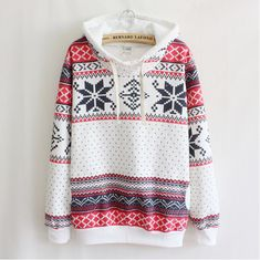 Printed long-sleeved hooded sweater #092821AD  This looks so comfy! I need this!