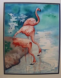 This is my original -Flamingoes Watercolor 11x14 by Bev Muth