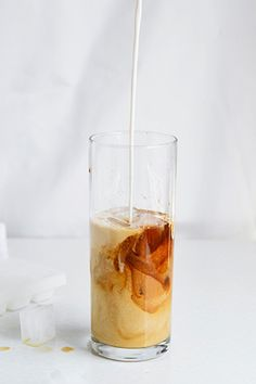 macadamia iced coffee with vanilla syrup