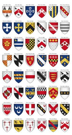 The Surrey Roll of Arms (aka Willement's Roll) - Shields - Category:Surrey Roll - Wikimedia Commons Medieval Art, Medieval Fantasy, Medieval Shields, Family Shield, Medieval Paintings, Armadura Medieval, Shield Design, Military Figures, Knights Templar