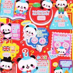 kawaii hard 3D panda bear glitter scratch stickers Japan