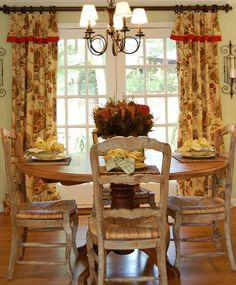 french country yellow & red curtains love the rich colors kind of