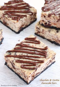 Lighter than traditional cheesecake, these ricotta cheesecake bars are chock-full with grated chocolate and finished with a drizzle of chocolate ganache.