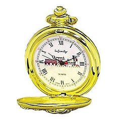 Locomotive Pocket Watch Two-Tone Conductor-Style w/Raised Steam Engine Image Sigma Impex, Inc.. $20.00