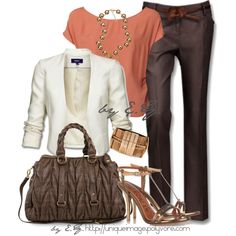 Chocolate Dress Pant, created by uniqueimage on Polyvore Brown pant, white jacket, blush top, metallic accessories -