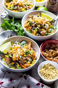 These Lemongrass Steak Noodle Bowls are Vietnamese-inspired & full of sweet potatoes, corn, bell peppers and crispy shallots, topped with pickled veggies! Easy Sausage Recipes, Pork Roast Recipes, Pulled Pork Recipes, Beef Recipes For Dinner, Spinach Recipes, Meat Recipes, Chicken Spaghetti Recipes, Healthy Weeknight Dinners, Noodle Bowls