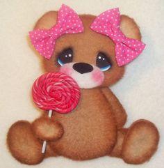 ELITE4U Tear Bear girl  pink lollipop ~ paper piecing  scrapbook ~card ~ album