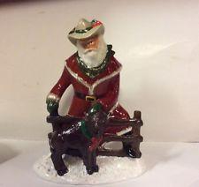 "Ceramic Western Santa Figurine 9 1/2"" Tall Hand Painted 2003 Buffalo EUC Maxwell"