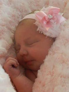 Pink Baby Girl Headband Newborn Bow Flower Rose Chiffon Rhinestone Bling Shabby | eBay