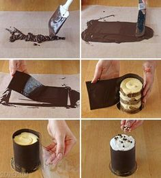How to wrap a stack of cut out cake layers in a chocolate sleeve using acetate collars