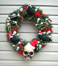 HORROR HOLIDAY WREATH Santa Skull Ravens  Skeletons. $65.00, via Etsy.