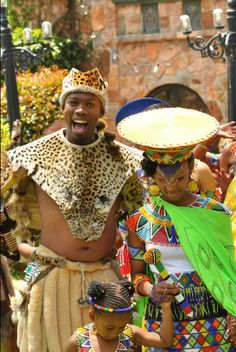 couple in beautiful traditional Zulu outfits African Attire, African Wear, African Dress, African Fashion, Zulu Traditional Wedding Dresses, African Traditional Wedding, Traditional Weddings, Zulu Wedding, African Traditions