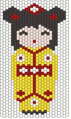 kokeshi jaune Plus Peyote Stitch Patterns, Bead Loom Patterns, Beading Patterns, Beaded Banners, Iron Beads, Peyote Beading, Kokeshi Dolls, Plastic Canvas Patterns, Beading Tutorials