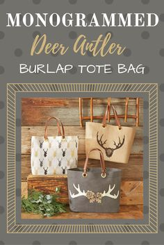 These deer antler burlap tote bags, found on Etsy, have leather handles and can be monogrammed. I love anything with antlers on it! #ad #CommissionLink