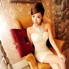 White Strapless Rhinestone Decor Halter Sexy Mini Party Dress