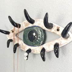 Ceramic Evil Eye Wall Art & Jewelry Holder, Eyelashes for Hooks, Necklace Earrings Storage, Eyelash Love, Makeup Artist Gift Idea, Lashes by HicklinHomestead on Etsy