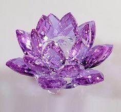 Crystal lotus flower healing reiki feng shui gift boxed pink purple crystal lotus flower mightylinksfo Image collections