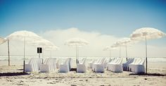 Parasols for a beach wedding- would only be better to hand out individual one's to each guest!