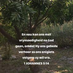 1 JOHANNES En nou kan ons met vrymoedigheid na God gaan, omdat Hy ons gebede verhoor as ons enigiets volgens sy wil vra. Gods Timing, 1 John, Afrikaans, Prayers, Bible, Faith, Biblia, Prayer, Beans